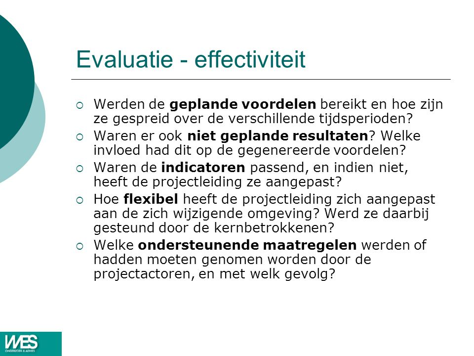 Evaluatie - effectiviteit