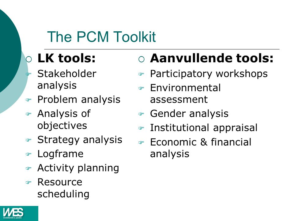 The PCM Toolkit LK tools: Aanvullende tools: Stakeholder analysis