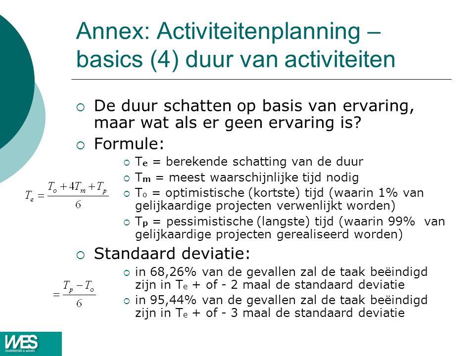 Annex: Activiteitenplanning – basics (4) duur van activiteiten
