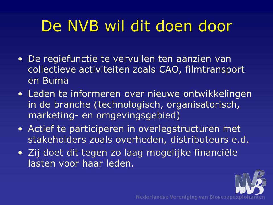 De NVB wil dit doen door De regiefunctie te vervullen ten aanzien van collectieve activiteiten zoals CAO, filmtransport en Buma.
