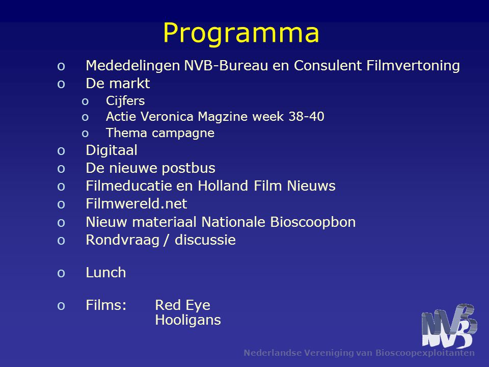 Programma Mededelingen NVB-Bureau en Consulent Filmvertoning De markt