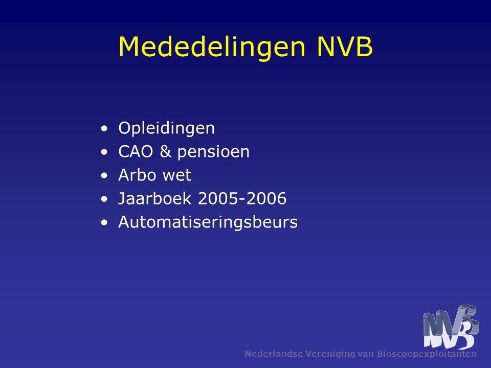 Mededelingen NVB Opleidingen CAO & pensioen Arbo wet