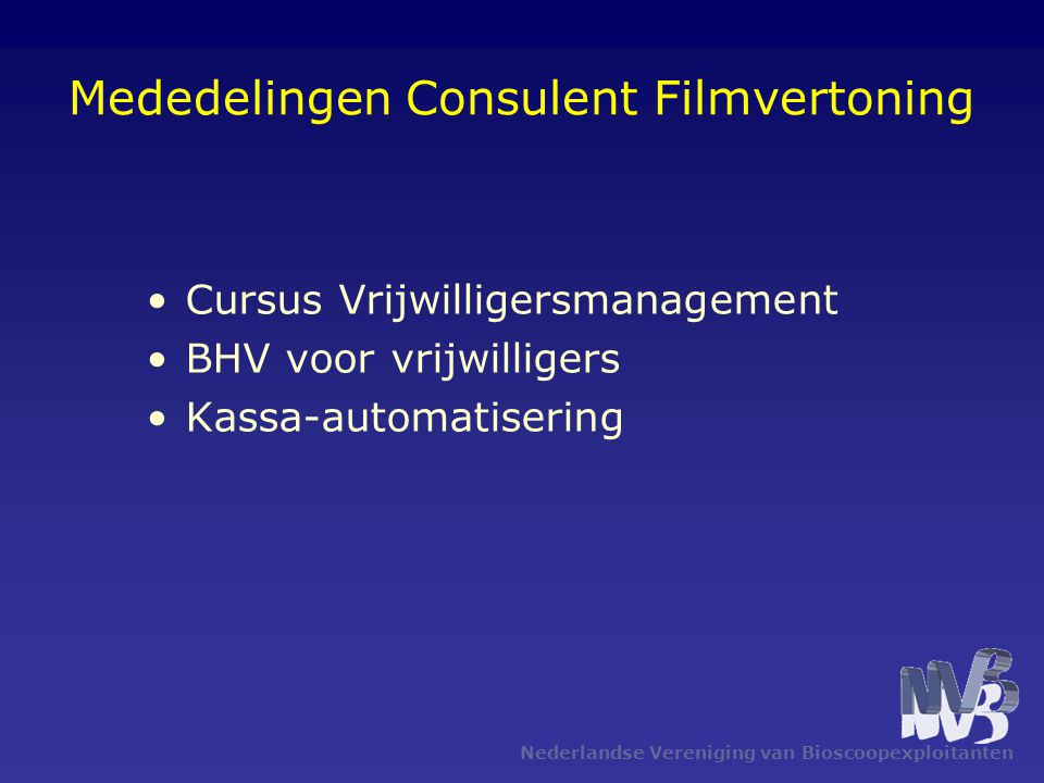 Mededelingen Consulent Filmvertoning