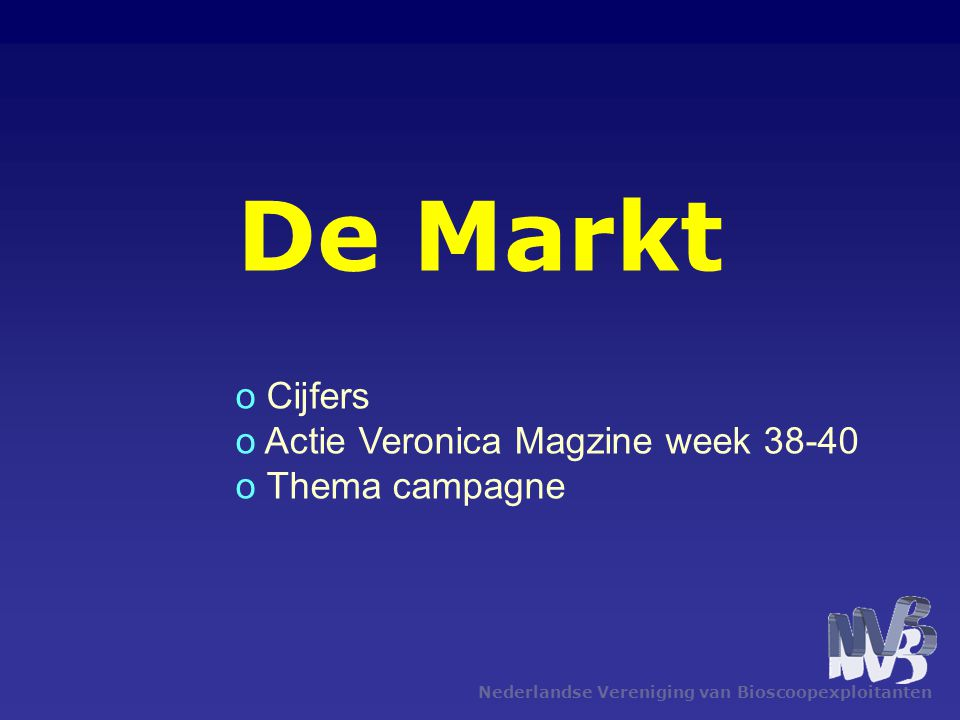 De Markt Cijfers Actie Veronica Magzine week 38-40 Thema campagne