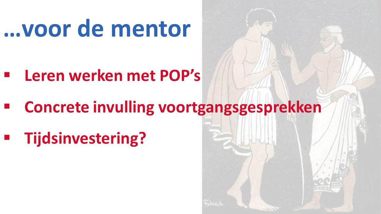 …voor de mentor Leren werken met POP's