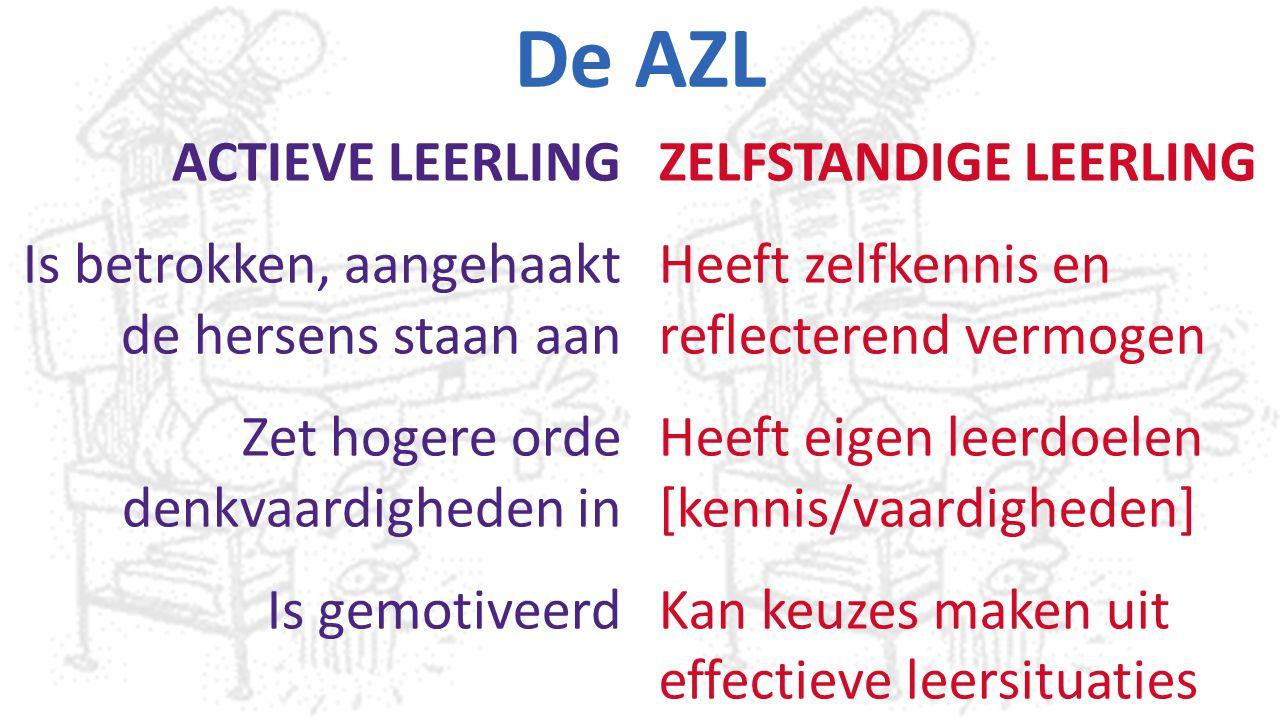 De AZL ACTIEVE LEERLING Is betrokken, aangehaakt de hersens staan aan