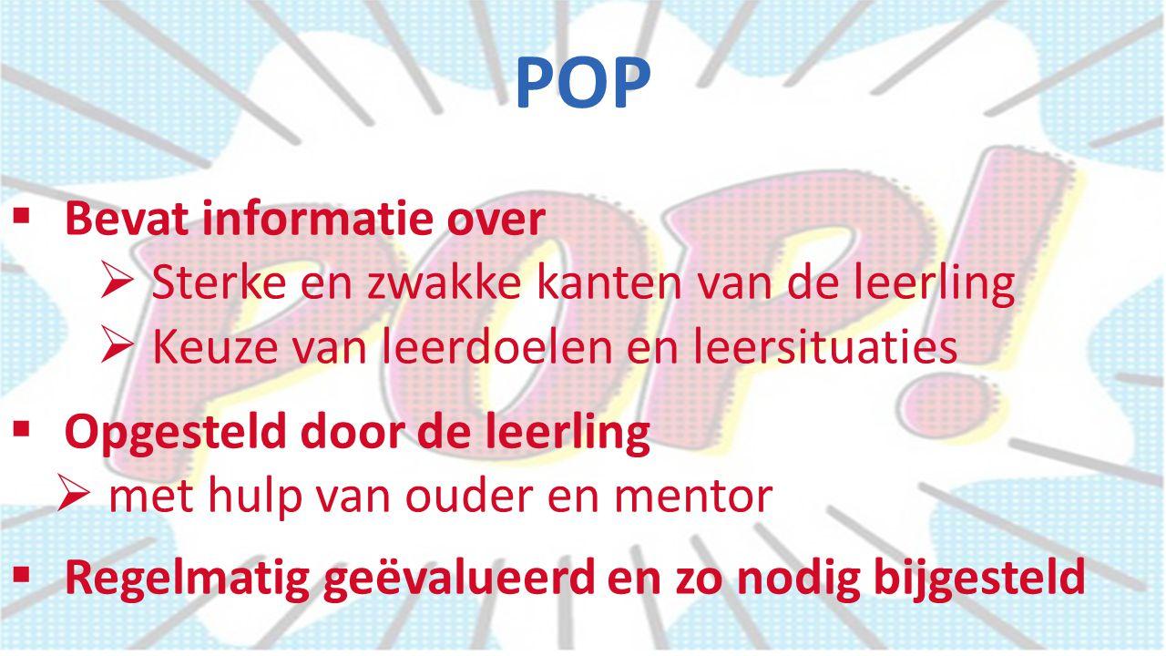 POP Bevat informatie over Sterke en zwakke kanten van de leerling