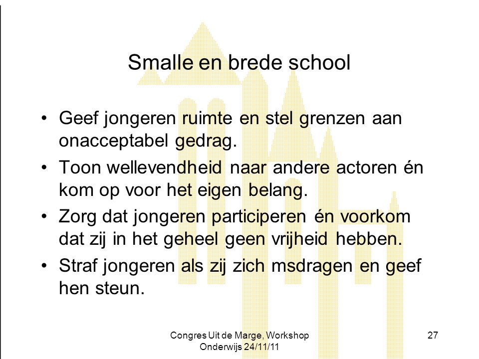Congres Uit de Marge, Workshop Onderwijs 24/11/11