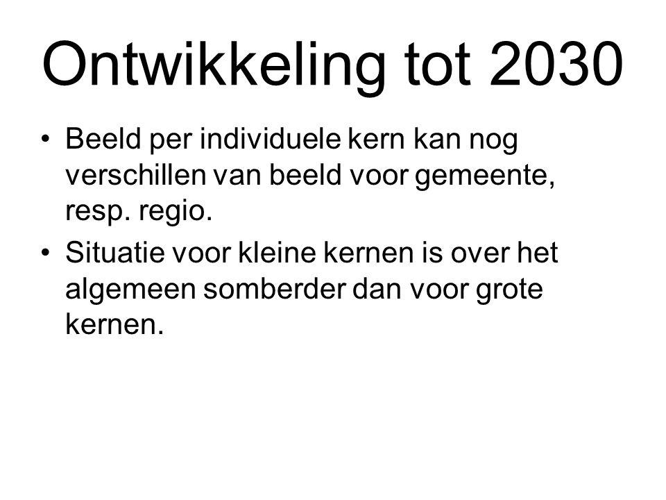 Ontwikkeling tot 2030 Beeld per individuele kern kan nog verschillen van beeld voor gemeente, resp. regio.