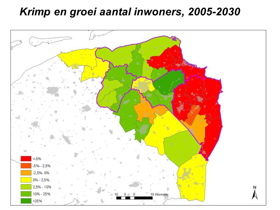 Krimp en groei aantal inwoners, 2005-2030