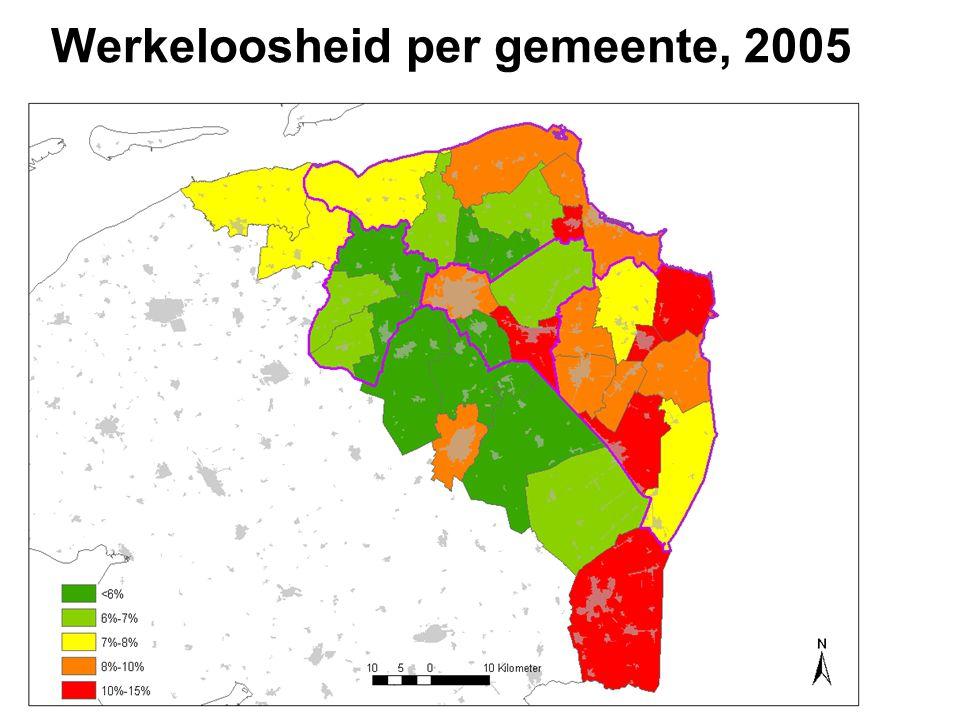Werkeloosheid per gemeente, 2005