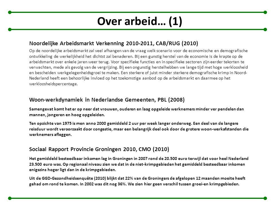Over arbeid… (1) Noordelijke Arbeidsmarkt Verkenning 2010-2011, CAB/RUG (2010)