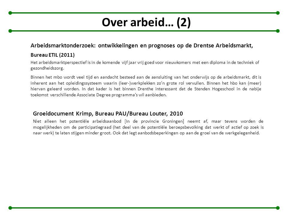 Over arbeid… (2) Arbeidsmarktonderzoek: ontwikkelingen en prognoses op de Drentse Arbeidsmarkt, Bureau ETIL (2011)