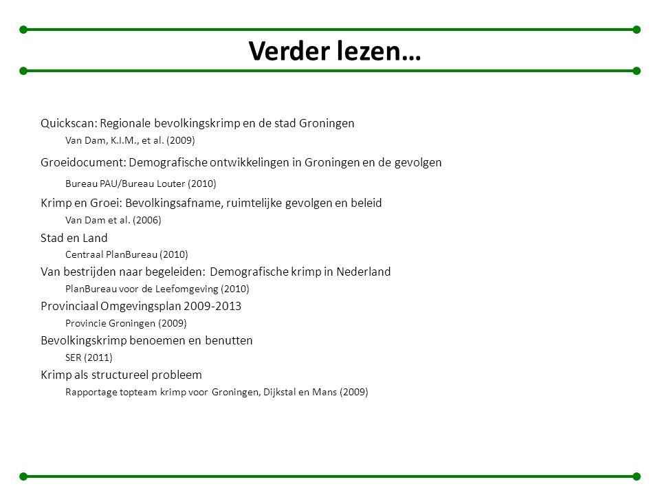 Verder lezen… Quickscan: Regionale bevolkingskrimp en de stad Groningen. Van Dam, K.I.M., et al. (2009)