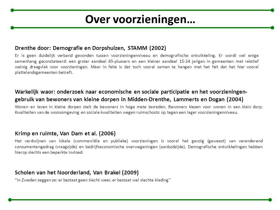 Over voorzieningen… Drenthe door: Demografie en Dorpshuizen, STAMM (2002)