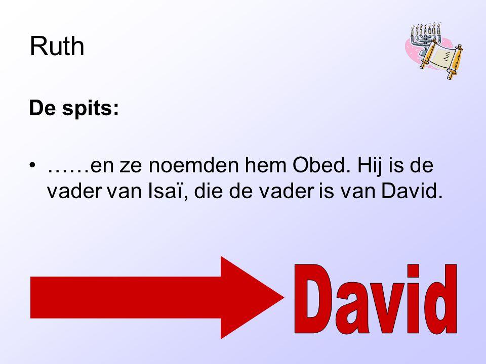 Ruth De spits: ……en ze noemden hem Obed. Hij is de vader van Isaï, die de vader is van David. David