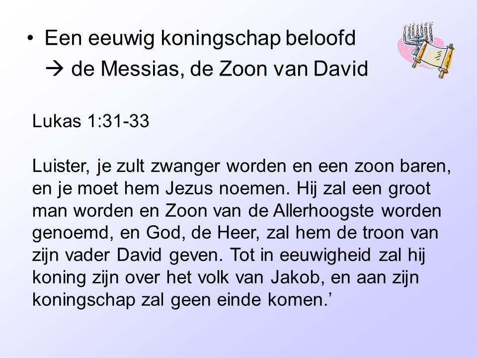 Een eeuwig koningschap beloofd  de Messias, de Zoon van David