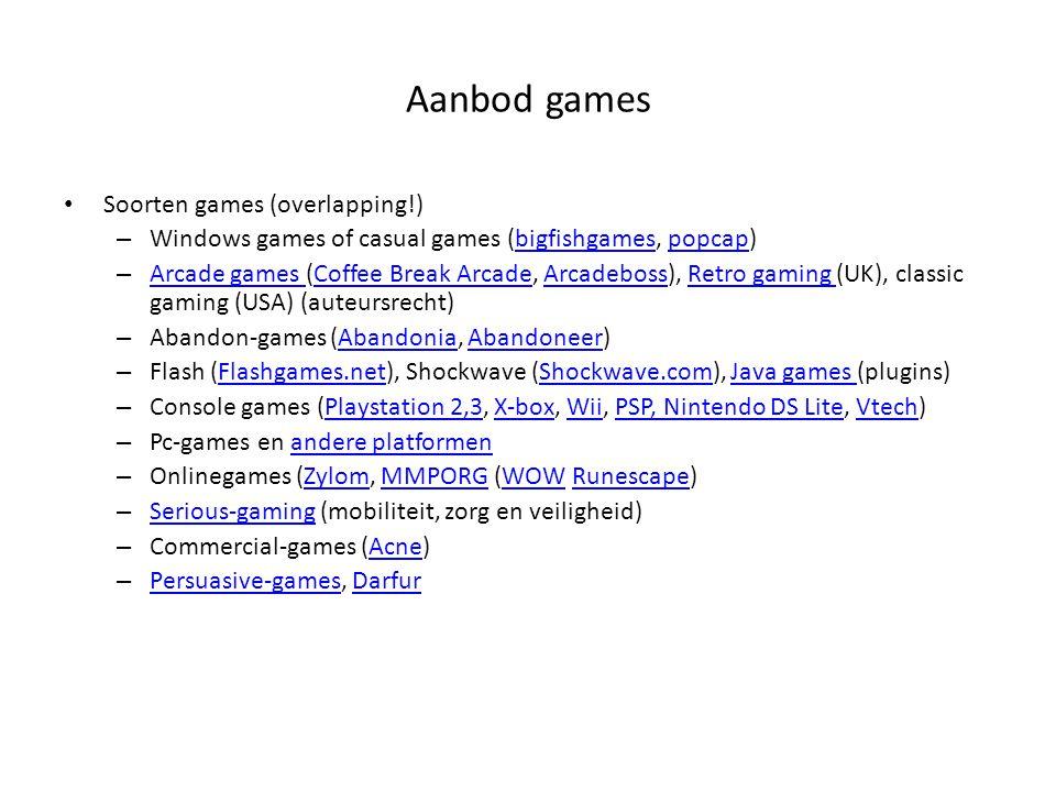 Aanbod games Soorten games (overlapping!)