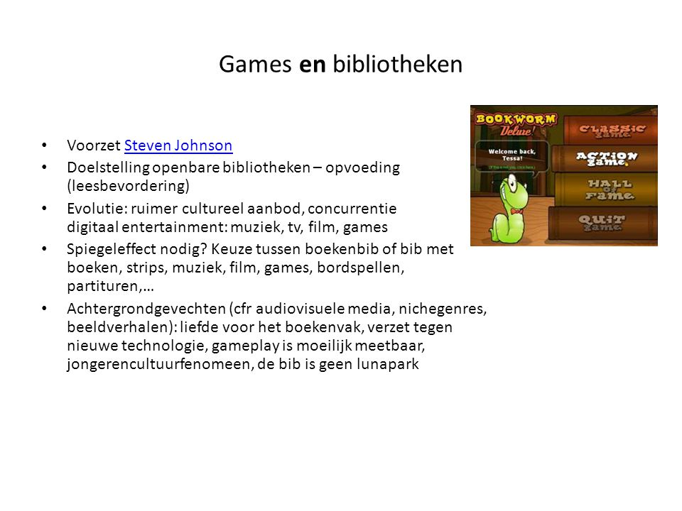 Games en bibliotheken Voorzet Steven Johnson