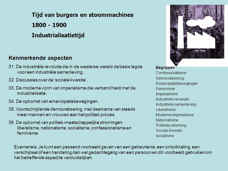 Tijd van burgers en stoommachines 1800 - 1900 Industrialisatietijd