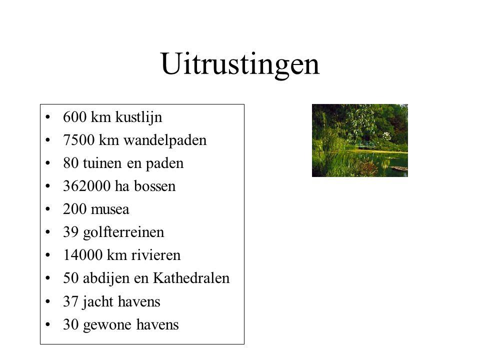 Uitrustingen 600 km kustlijn 7500 km wandelpaden 80 tuinen en paden