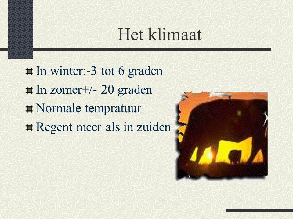 Het klimaat In winter:-3 tot 6 graden In zomer+/- 20 graden