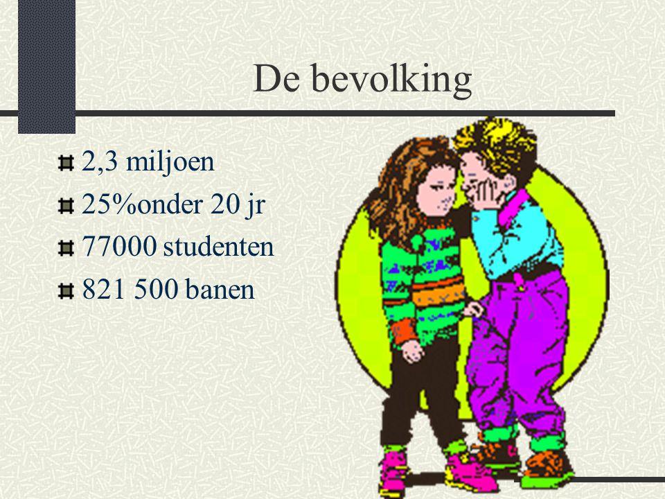De bevolking 2,3 miljoen 25%onder 20 jr 77000 studenten 821 500 banen