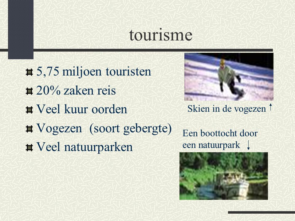 tourisme 5,75 miljoen touristen 20% zaken reis Veel kuur oorden