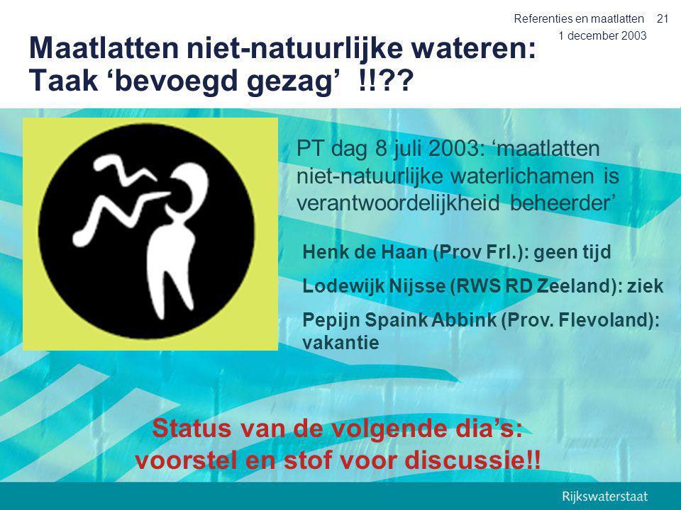 Maatlatten niet-natuurlijke wateren: Taak 'bevoegd gezag' !!