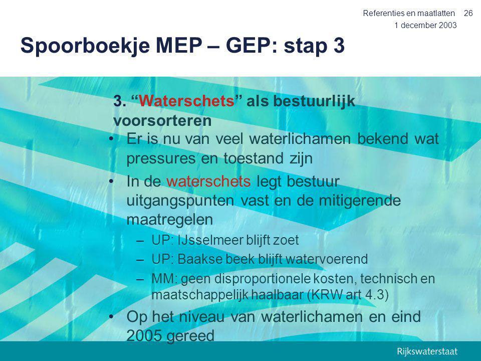 Spoorboekje MEP – GEP: stap 3