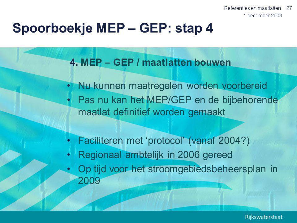 Spoorboekje MEP – GEP: stap 4