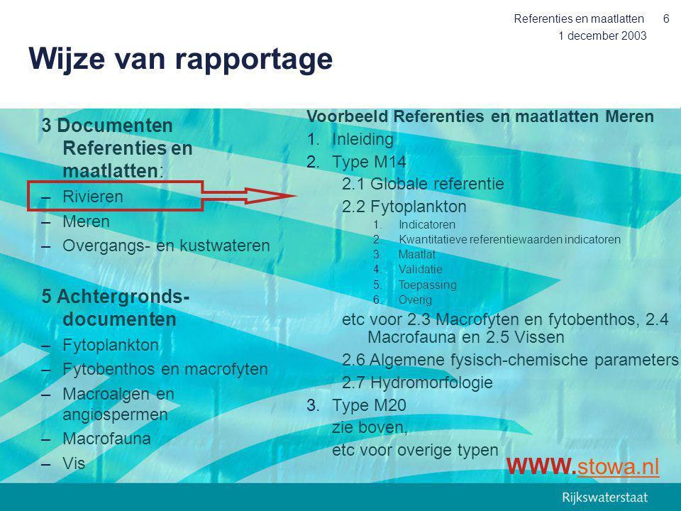 Wijze van rapportage WWW.stowa.nl