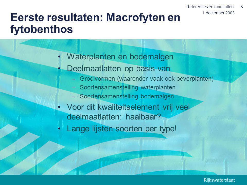 Eerste resultaten: Macrofyten en fytobenthos