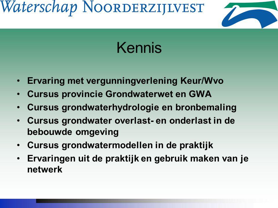 Kennis Ervaring met vergunningverlening Keur/Wvo