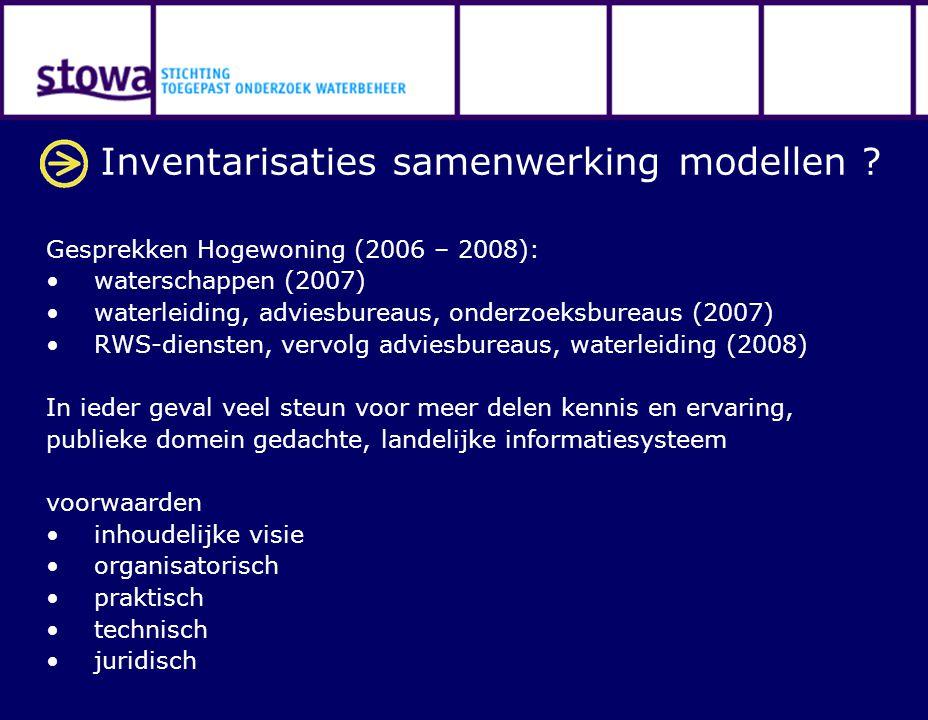 Inventarisaties samenwerking modellen