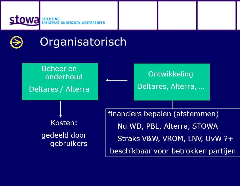 Organisatorisch Beheer en onderhoud Ontwikkeling Deltares / Alterra