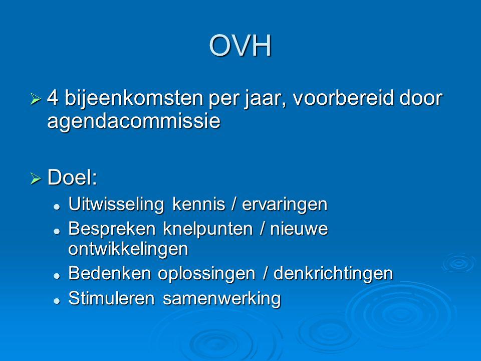 OVH 4 bijeenkomsten per jaar, voorbereid door agendacommissie Doel: