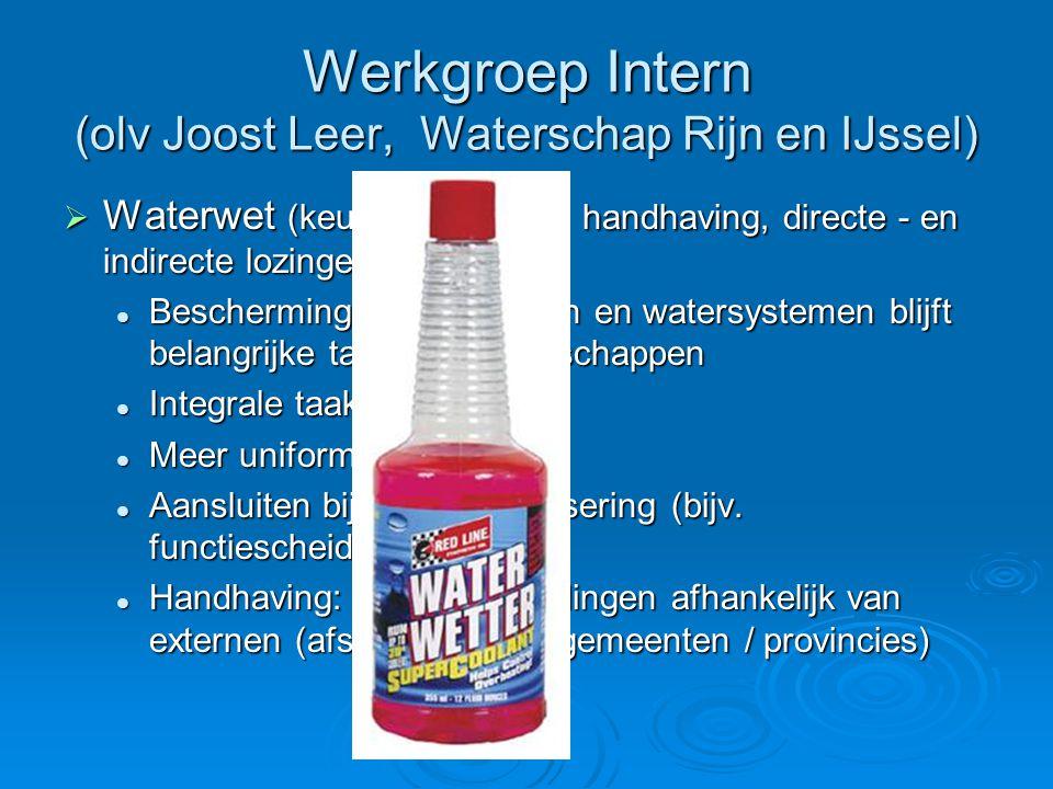 Werkgroep Intern (olv Joost Leer, Waterschap Rijn en IJssel)