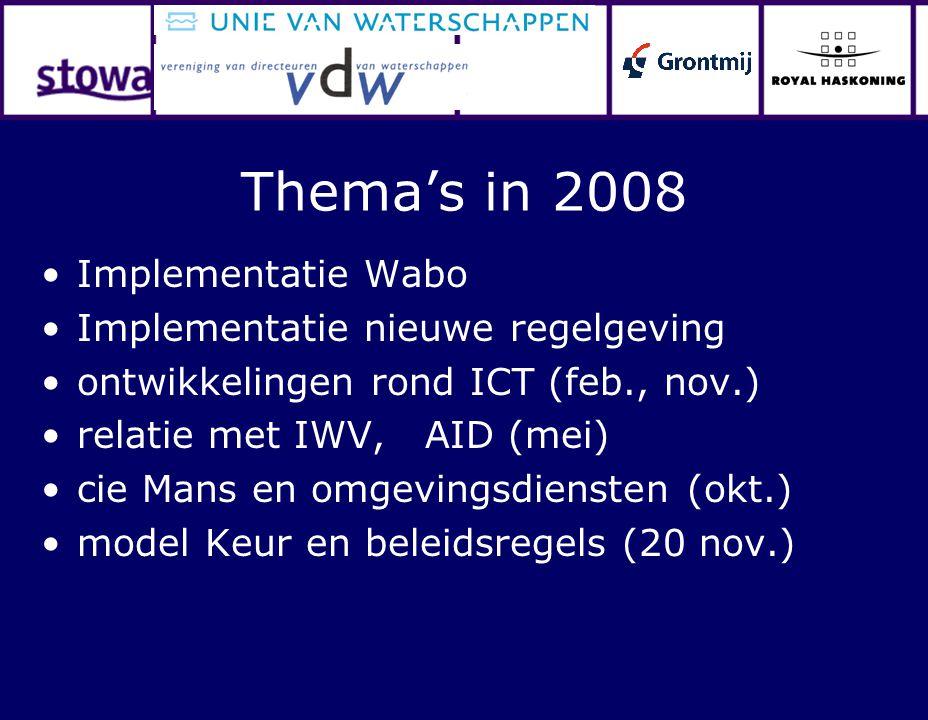 Thema's in 2008 Implementatie Wabo Implementatie nieuwe regelgeving