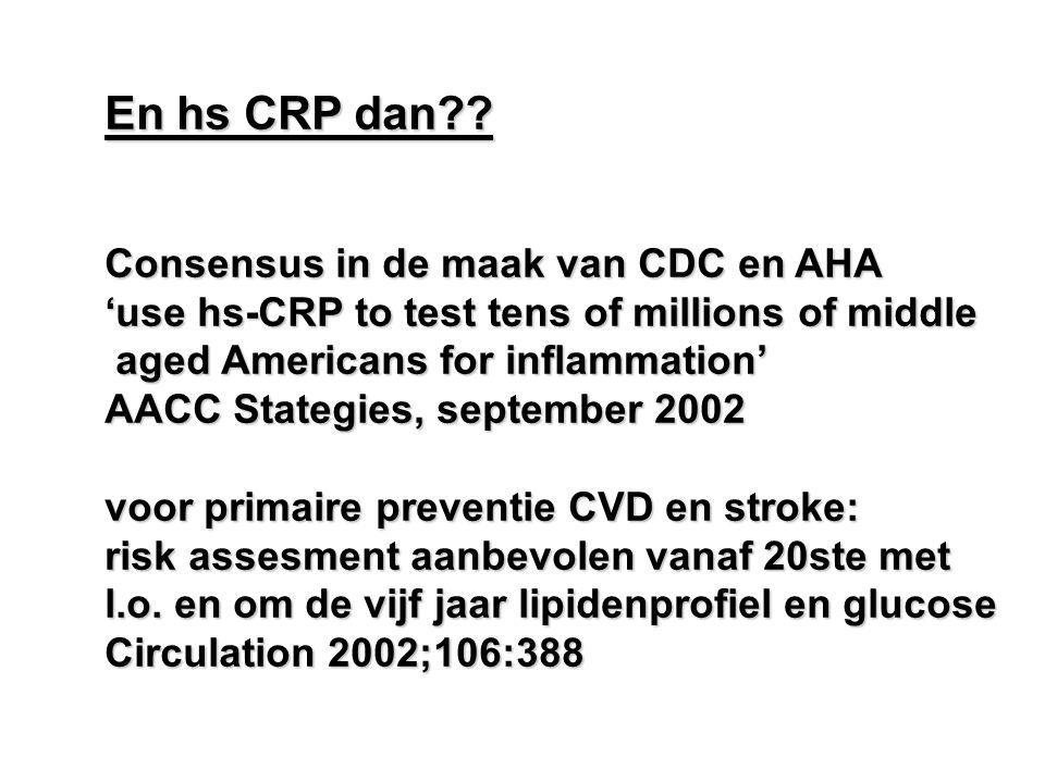 En hs CRP dan Consensus in de maak van CDC en AHA