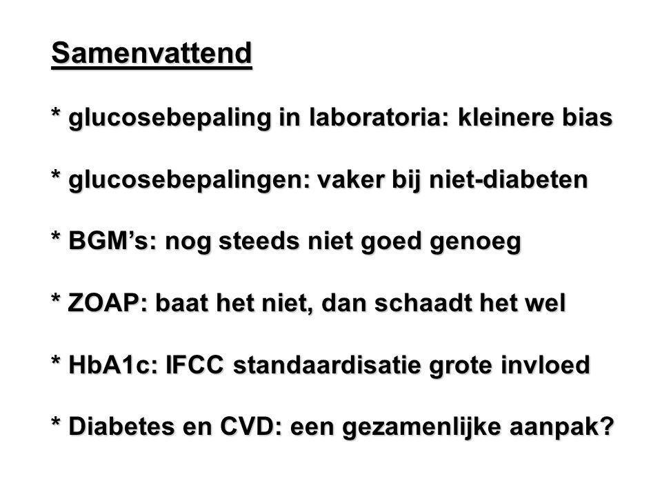 Samenvattend * glucosebepaling in laboratoria: kleinere bias