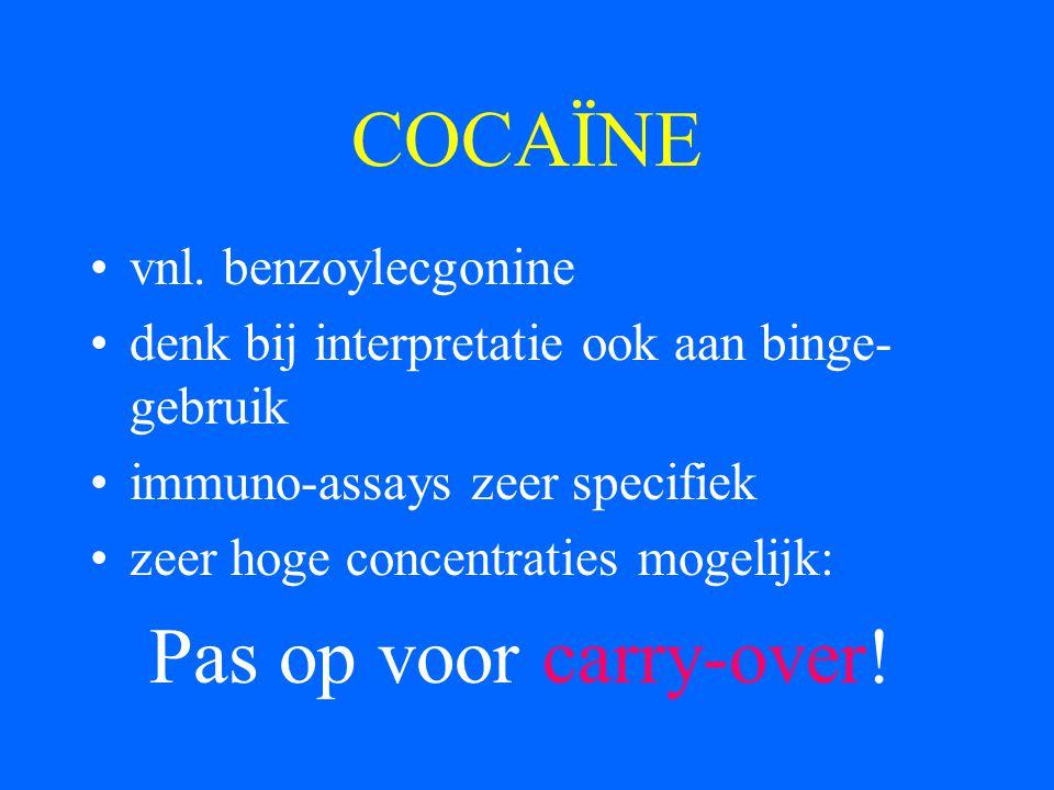 COCAÏNE Pas op voor carry-over! vnl. benzoylecgonine