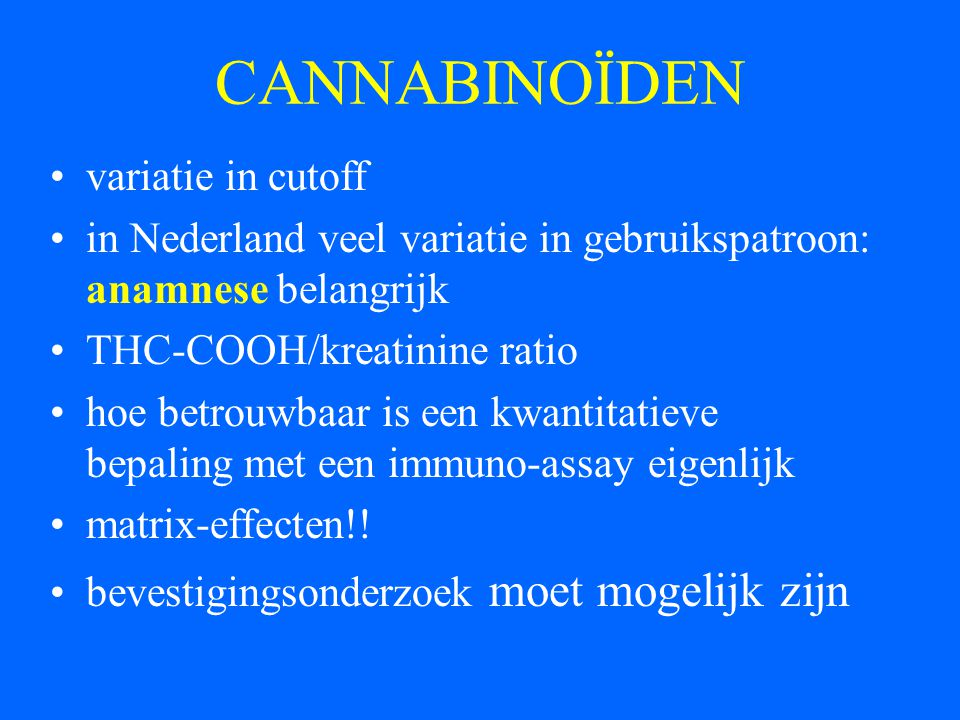 CANNABINOÏDEN variatie in cutoff