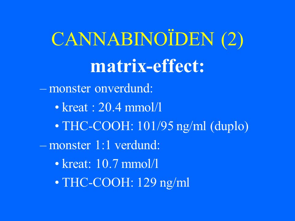 CANNABINOÏDEN (2) matrix-effect: monster onverdund: