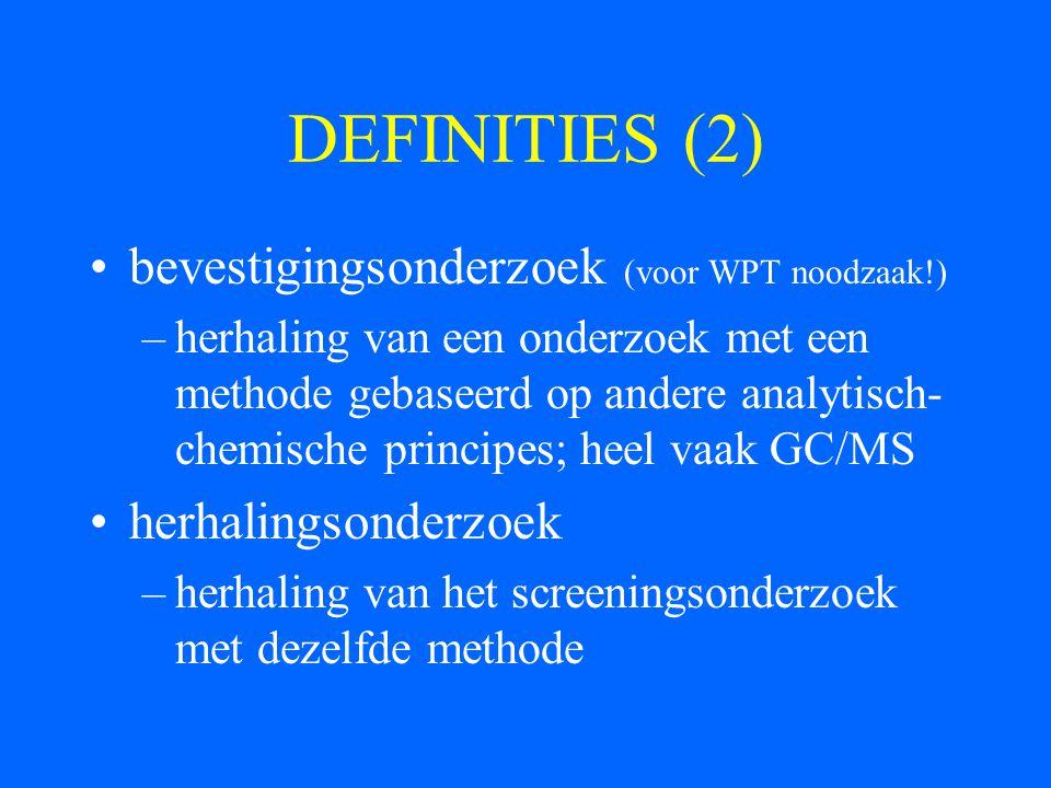 DEFINITIES (2) bevestigingsonderzoek (voor WPT noodzaak!)