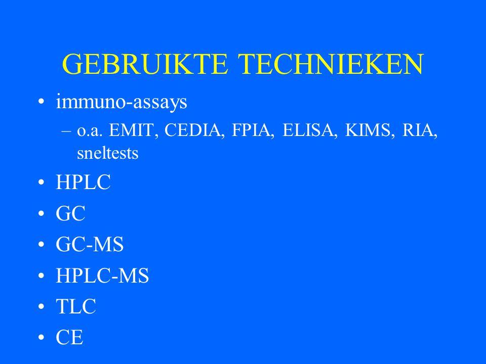 GEBRUIKTE TECHNIEKEN immuno-assays HPLC GC GC-MS HPLC-MS TLC CE