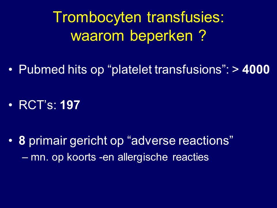 Trombocyten transfusies: waarom beperken