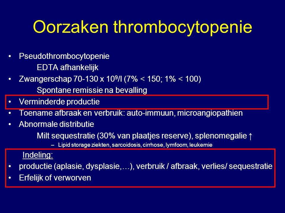 Oorzaken thrombocytopenie