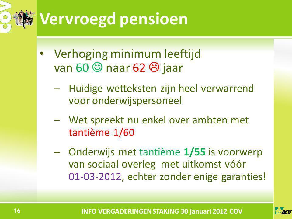 Vervroegd pensioen Verhoging minimum leeftijd van 60  naar 62  jaar