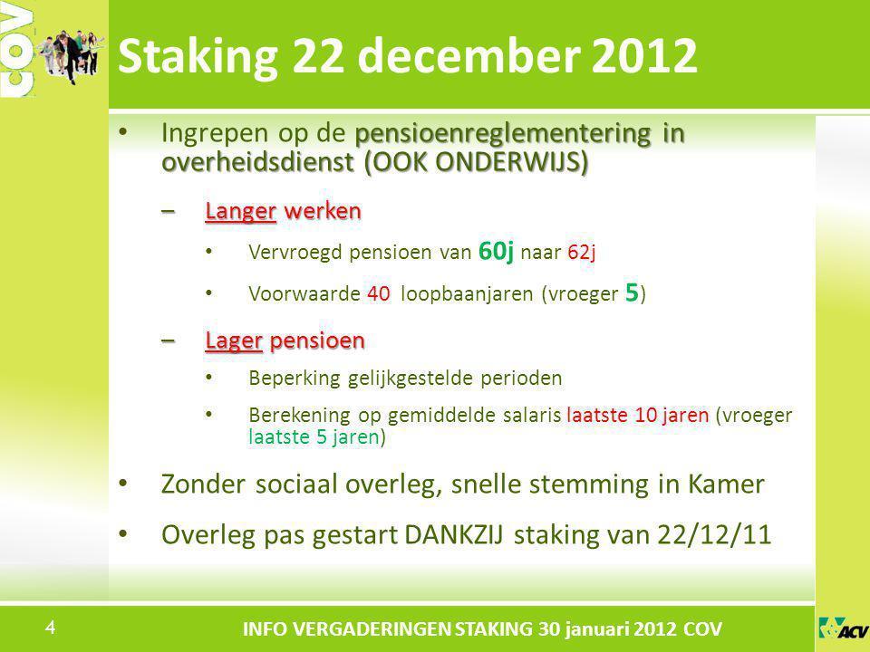 Staking 22 december 2012 Ingrepen op de pensioenreglementering in overheidsdienst (OOK ONDERWIJS) Langer werken.